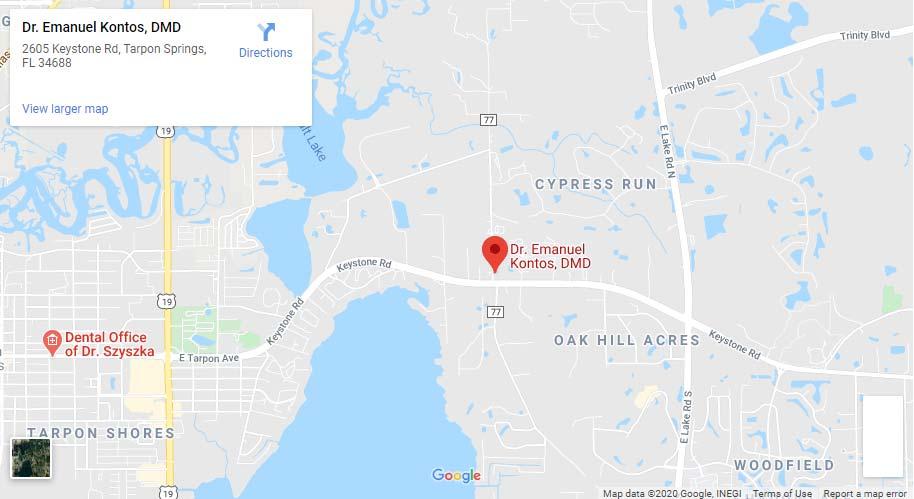 Location Map tarpon springs dentist